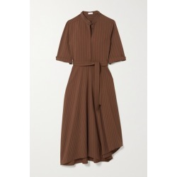 Brunello Cucinelli - Belted Bead-embellished Pinstriped Woven Midi Shirt Dress - Brown found on Bargain Bro UK from NET-A-PORTER UK