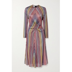 Beaufille - Aquila Twist-front Striped Stretch Jacquard-knit Midi Dress - Magenta found on MODAPINS from NET-A-PORTER UK for USD $309.99