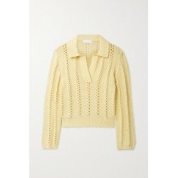 Jonathan Simkhai - Berenice Open-knit Trimmed Cotton-blend Sweater - Pastel yellow found on MODAPINS from NET-A-PORTER UK for USD $430.53