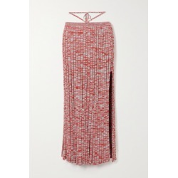Christopher Esber - Tie-detailed Mélange Ribbed-knit Maxi Skirt - Red found on MODAPINS from NET-A-PORTER UK for USD $538.48