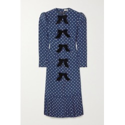 Alessandra Rich - Bow-embellished Polka-dot Silk Crepe De Chine Midi Dress - Blue found on MODAPINS from NET-A-PORTER for USD $1295.00