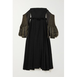 Loewe - Off-the-shoulder Leather-trimmed Wool And Embroidered Silk-organza Gown - Black found on Bargain Bro UK from NET-A-PORTER UK