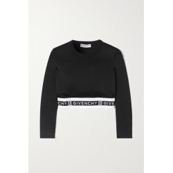 Givenchy - Cropped Jacquard-trimmed Jersey Top - Black found on Bargain Bro UK from NET-A-PORTER UK