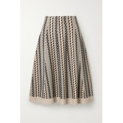 Akris - Striped Textured Wool-blend Midi Skirt - Neutral found on MODAPINS from NET-A-PORTER for USD $745.00