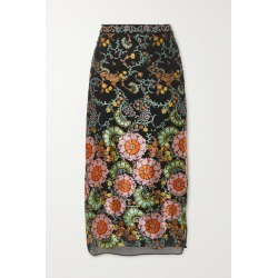 Alice Olivia - Maive Printed Devoré-satin Midi Skirt - Black found on MODAPINS from NET-A-PORTER for USD $440.00