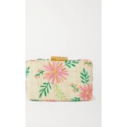 Kayu - Claire Embroidered Straw Clutch - Pink found on MODAPINS from NET-A-PORTER for USD $245.00
