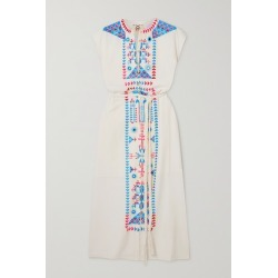 Figue - Kari Belted Embroidered Cotton Midi Dress - Ivory found on MODAPINS from NET-A-PORTER for USD $645.00