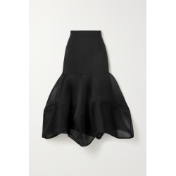Akris - Fluted Wool-blend Crepe And Mesh Midi Skirt - Black found on MODAPINS from NET-A-PORTER UK for USD $1882.43