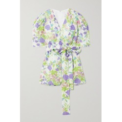 Les Rêveries - Belted Smocked Floral-print Cotton-poplin Playsuit - Purple found on Bargain Bro from NET-A-PORTER for USD $150.10
