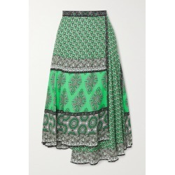 Alice Olivia - Nanette Wrap-effect Printed Crepe Midi Skirt - Green found on MODAPINS from NET-A-PORTER for USD $350.00
