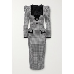Alessandra Rich - Velvet-trimmed Checked Wool-blend Midi Dress - Black found on MODAPINS from NET-A-PORTER for USD $1253.00