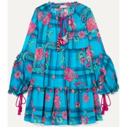 Anjuna - Tiered Printed Cotton-voile Mini Dress - Blue found on MODAPINS from NET-A-PORTER for USD $270.00