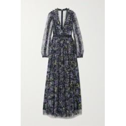 Needle & Thread - Grosgrain-trimmed Ruffled Floral-print Tulle Gown - Black found on Bargain Bro India from NET-A-PORTER for $519.00