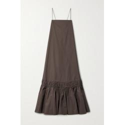 Jil Sander - Ruffled Cotton-poplin Maxi Dress - Dark brown found on Bargain Bro UK from NET-A-PORTER UK