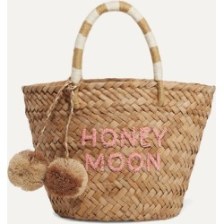 Kayu - St Tropez Mini Pompom-embellished Embroidered Woven Straw Tote - Sand found on MODAPINS from NET-A-PORTER for USD $88.00