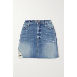 FRAME - Le Mini Distressed Denim Skirt - Light denim found on Bargain Bro UK from NET-A-PORTER UK