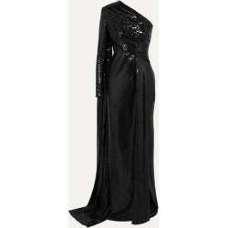 Elie Saab - One-sleeve Draped Sequined Tulle Gown - Black found on MODAPINS from NET-A-PORTER for USD $1875.00