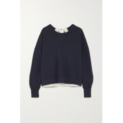 Bassike - Buckle-detailed Canvas-trimmed Cotton-jersey Sweatshirt - Navy found on MODAPINS from NET-A-PORTER UK for USD $142.78