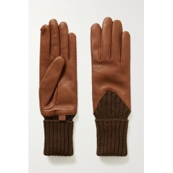 Agnelle - Cecilia Leather And Ribbed Alpaca Gloves - Tan found on MODAPINS from NET-A-PORTER for USD $65.62