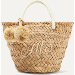 Kayu - St Tropez Mini Pompom-embellished Embroidered Woven Straw Tote - Sand found on MODAPINS from NET-A-PORTER UK for USD $116.25