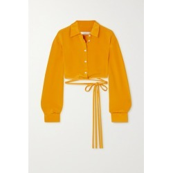 Christopher Esber - Tie-detailed Silk-satin Shirt - Yellow found on MODAPINS from NET-A-PORTER for USD $525.00