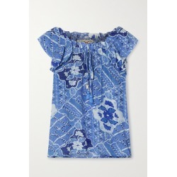 Figue - Gianna Printed Crepe De Chine Top - Blue found on MODAPINS from NET-A-PORTER for USD $325.00