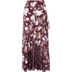 Alice Olivia - Walker Asymmetric Tiered Floral-print Fil Coupé Chiffon Maxi Skirt - Burgundy found on MODAPINS from NET-A-PORTER for USD $214.00