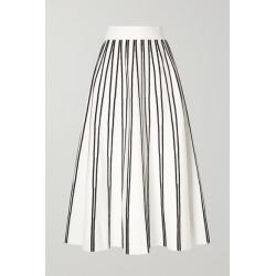J.Crew - Striped Knitted Midi Skirt - Ivory