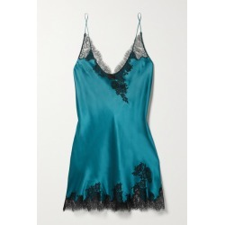 Carine Gilson - Silk-satin And Chantilly Lace Chemise - Teal found on MODAPINS from NET-A-PORTER for USD $685.00