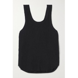 Bassike - Organic Cotton-trimmed Frayed Linen-jersey Tank - Black found on MODAPINS from NET-A-PORTER for USD $140.00