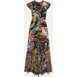 Alice Olivia - Laurette Ruffled Floral-print Satin Maxi Dress - Black found on MODAPINS from NET-A-PORTER for USD $895.00