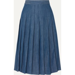 J.Crew - Pleated Cotton-blend Chambray Midi Skirt - Navy