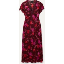 Anna Sui - Scattered Flowers Lace-trimmed Silk-blend Jacquard Midi Dress - Burgundy found on MODAPINS from NET-A-PORTER for USD $325.00
