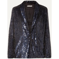 Alice Olivia - Jace Oversized Sequined Satin Blazer - Navy found on MODAPINS from NET-A-PORTER for USD $695.00
