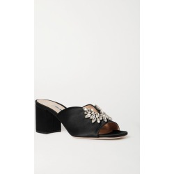Miu Miu - Crystal-embellished Satin Mules - Black found on MODAPINS from NET-A-PORTER UK for USD $951.82