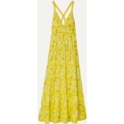 Alice Olivia - Karolina Crochet-trimmed Floral-print Chiffon Maxi Dress - Bright yellow found on MODAPINS from NET-A-PORTER for USD $385.00