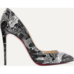 Christian Louboutin - Pigalle Follies Nicograf 100 Printed Patent-leather Pumps - Black found on Bargain Bro India from NET-A-PORTER for $775.00