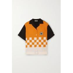 Miu Miu - Appliquéd Printed Cady Shirt - Orange found on Bargain Bro UK from NET-A-PORTER UK