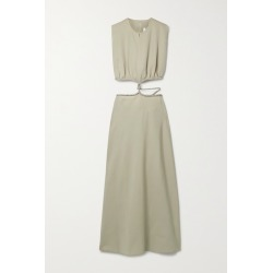 Christopher Esber - Crystal-embellished Cutout Wool-twill Maxi Dress - Beige found on MODAPINS from NET-A-PORTER for USD $1352.00