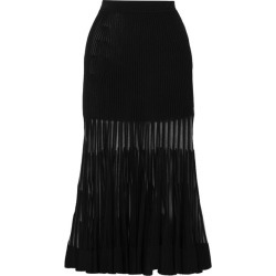 Alexander McQueen - Mesh-paneled Ribbed Stretch-knit Midi Skirt - Black found on MODAPINS from NET-A-PORTER UK for USD $2001.65