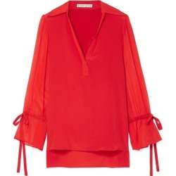 Alice Olivia - Geraldine Silk Crepe De Chine And Georgette Blouse - Red found on MODAPINS from NET-A-PORTER for USD $207.00
