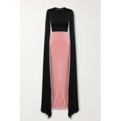 Alex Perry - Julian Two-tone Cape-effect Satin-crepe Gown - Black found on MODAPINS from NET-A-PORTER UK for USD $1738.98