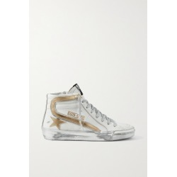 Golden Goose - Slide Metallic Distressed Leather High-top Sneakers - White found on Bargain Bro UK from NET-A-PORTER UK