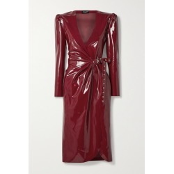 SAINT LAURENT - Latex Midi Wrap Dress + Latex Care Cleaning Kit 3 X 30ml Bottles (vividress, Vivishine, Viviclean) - Burgundy found on Bargain Bro UK from NET-A-PORTER UK