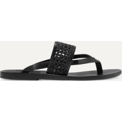 Ancient Greek Sandals - Zenobia Woven Raffia And Leather Sandals - Black found on MODAPINS from NET-A-PORTER UK for USD $162.14
