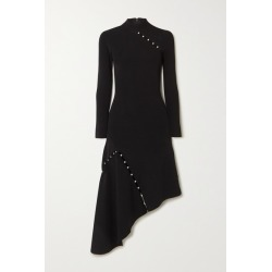 Alice Olivia - Kam Asymmetric Faux Pearl-embellished Stretch-cady Dress - Black found on MODAPINS from NET-A-PORTER for USD $550.00