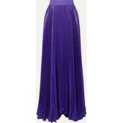 Alice Olivia - Katz Pleated Metallic Silk-blend Maxi Skirt - Purple found on MODAPINS from NET-A-PORTER for USD $346.50
