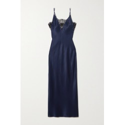 Fleur du Mal - Daphne Lace-trimmed Silk-satin Nightdress - Indigo found on Bargain Bro India from NET-A-PORTER for $208.50