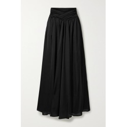 Marika Vera - Brook Gathered Satin Wide-leg Pants - Black found on Bargain Bro Philippines from NET-A-PORTER for $240.00