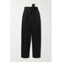 Alex Mill - Belted Pleated Cotton-blend Tapered Pants - Black found on MODAPINS from NET-A-PORTER for USD $75.00
